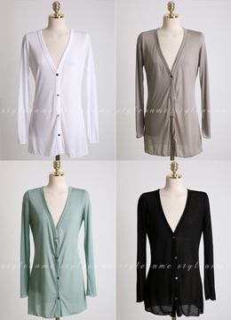 Tencel V-Neck Cardigan, Styleonme