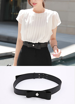 Pearl Accent Ribbon Belt, Styleonme