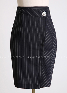 Pinstripe Silver Button Pencil Skirt, Styleonme