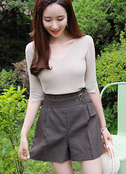 High-Waisted Linen Belted Shorts, Styleonme