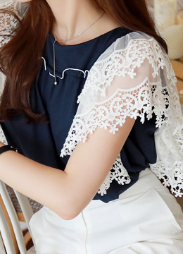 Romantic Lace Angel Sleeve T-shirt, Styleonme