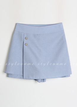 Silver Button Mini Skort, Styleonme