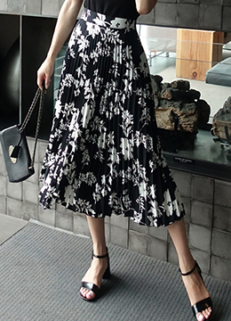 Floral Print Pleated Long Skirt, Styleonme