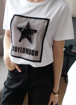 Sequined Star Cotton Modal T-shirt, Styleonme