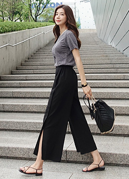 Side Slit Wide Leg Pants, Styleonme