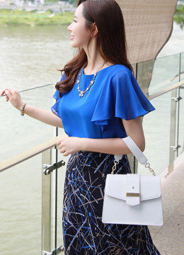 Chiffon Butterfly Sleeve Blouse, Styleonme
