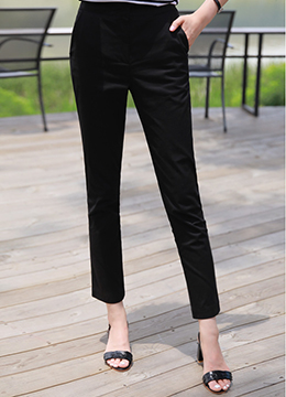 Straight Leg Cotton Slacks, Styleonme