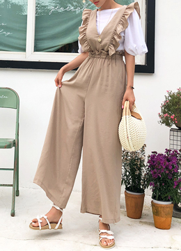 Frill Detail Wide Leg Jumpsuit, Styleonme