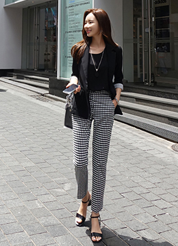 Gingham Check Print Straight Leg Slacks, Styleonme