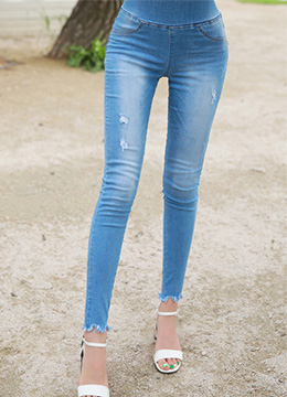 Stretchy Blue Wash Skinny Jeans, Styleonme
