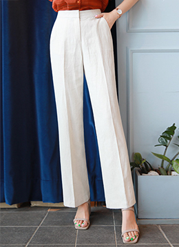 Linen-Blend Long Leg Slacks, Styleonme