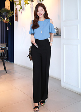 Wide Long Leg Slacks, Styleonme