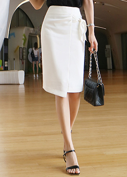 Side Ribbon Tie Pencil Skirt, Styleonme