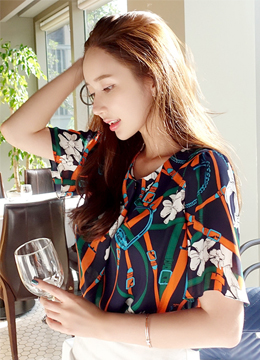 Vivid Floral and Belt Print Blouse, Styleonme