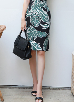 Leaf Print High-Waisted Linen Pencil Skirt, Styleonme