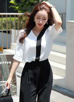 Black Contrast Line Puff Sleeve Blouse, Styleonme