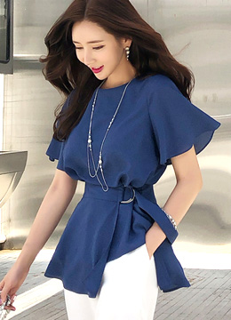 2way Peplum Belt Set Blouse, Styleonme