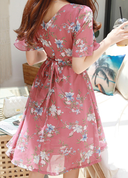 Romantic Floral Print Flared Dress, Styleonme