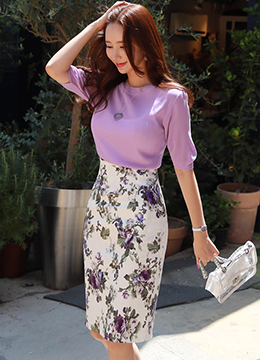 Rose Print High-Waisted Pencil Skirt, Styleonme