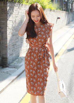 Floral Print Frill Sleeve Dress, Styleonme