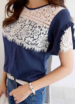 Lace Accent Frill Trim T-shirt, Styleonme