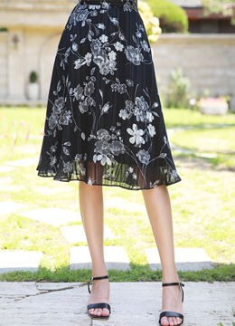 Metallic Line Floral Print Flared Skirt, Styleonme