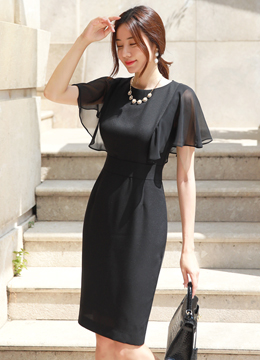 Elegant Angel Sleeve Slim Fit Dress, Styleonme