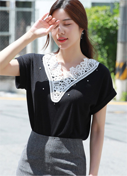 Pearl Accent Lace Motif T-shirt, Styleonme