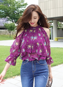 Floral Print Cold Shoulder Frill Blouse, Styleonme