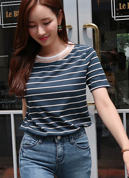 See-through Neckline Stripe T-shirt, Styleonme