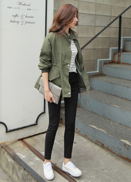 Shirred Sleeve Field Jacket, Styleonme