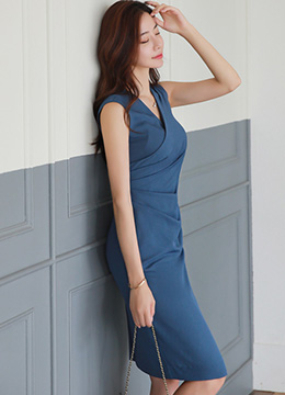 Sleeveless Blue Wrap Dress, Styleonme