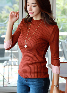 Color Cuff Ribbed Knit Tee, Styleonme