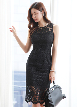 Feminine Floral Lace Sleeveless Dress, Styleonme