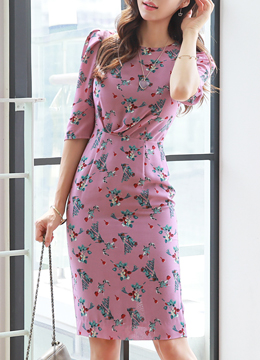 Floral Print Half Sleeve Slim Fit Dress, Styleonme