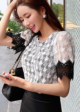 Houndstooth Check Lace Blouse, Styleonme