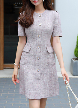 Square Button Tweed Dress, Styleonme
