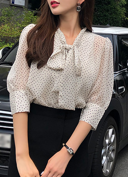 Dot Patterned Tie Neck Puff Sleeve Blouse, Styleonme