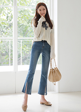 Deep Slit Boot-Cut Jeans, Styleonme