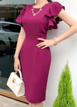 Feminine Frill Sleeve Dress, Styleonme