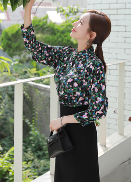 Floral Print Shirred Mandarin Collar Blouse, Styleonme