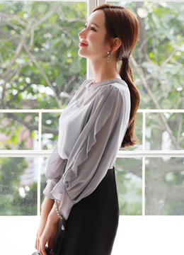 See-through Ruffle Long Sleeve Blouse, Styleonme
