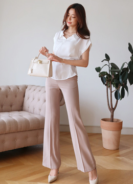 High-Waisted Boot-Cut Slacks, Styleonme