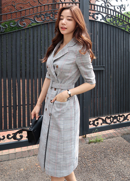 Check Print Belt Set Double-Breasted Jacket Dress, Styleonme