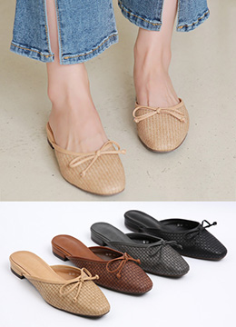 Front Ribbon Weave Slippers, Styleonme