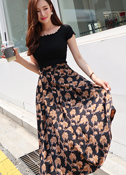 Floral Print Flared Long Skirt, Styleonme