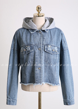 New York Embroidered Hooded Denim Jacket, Styleonme