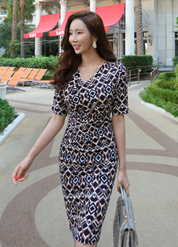 Unique Patterned Wrap Style Slim Fit Dress, Styleonme