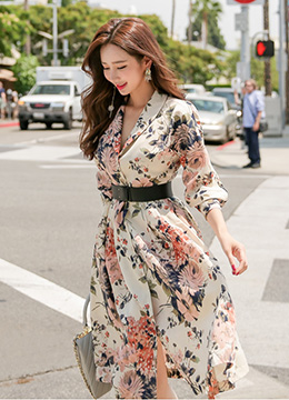 Floral Print Shawl Collar Belted Dress, Styleonme
