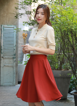 Autumn Color Midi Flared Skirt, Styleonme